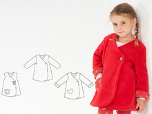 LENA Baby girls tunic wrap jacket pattern with buttons. Easy infant dress for summer or coat for winter. Ebook pdf by Patternforkids