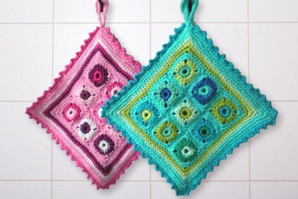 Topflappen  Topflappen häkeln mit Crazypatterns - einzigartige Muster & Farben!