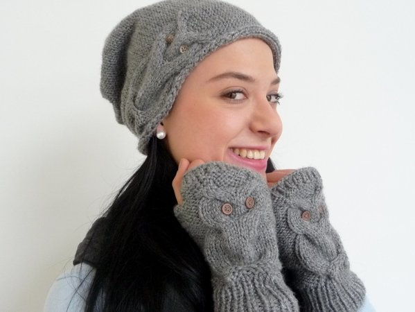"Knitting Pattern – Beanie ""OWL–DESIGN"" – all sizes – No.102E"
