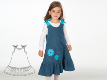 SIENA Baby girls dress pattern, easy tunic with hem ruffles + bow ties. Lined baby girl pinafore dress ebook pdf download by Patternforkids