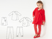 ENNA + LENA Baby girls leggings + dress pattern bundle. Girls tunic wrap jacket set with stretch pants by Patternforkids