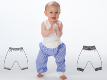 BREK Easy Baby and Children pants sewing pattern pdf for toddler boys + girls. Sweatpants, yoga pants with ribbing by Patternforkids