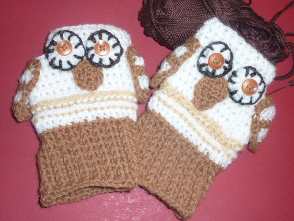 Häkelanleitung Hand Stulpen Handschuhe Eule Für Kinder Und
