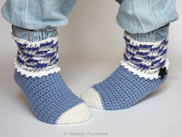 Socken für Kinder häkeln--Rippenmuster häkeln