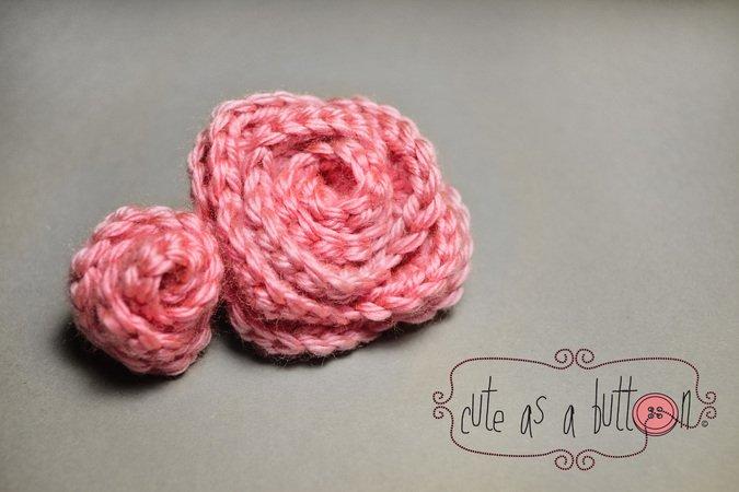 gratis 3D-Rosen häkeln - Freebook Deko-Rose