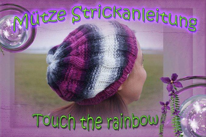 Mütze Stricken Zopfmuster Mit Regenbogen