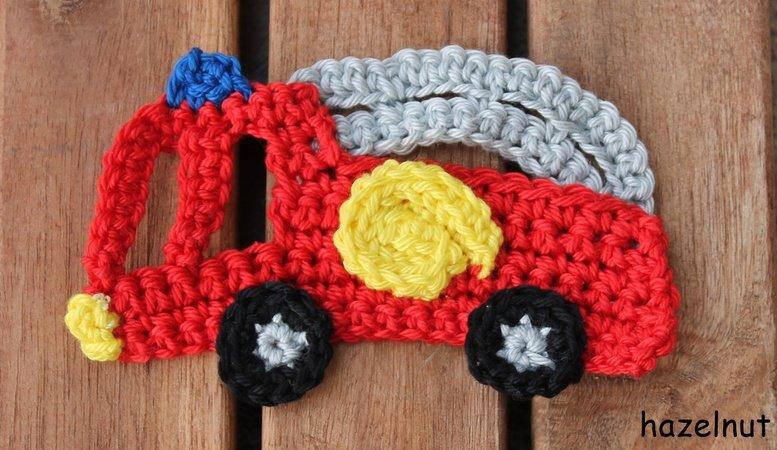 Häkelanleitung Applikation Feuerwehrauto