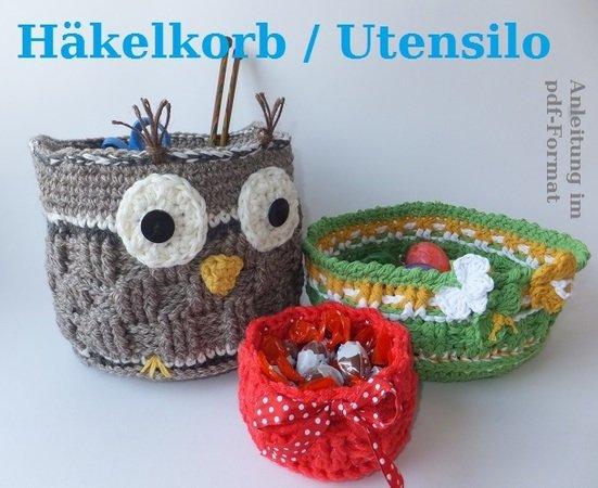 Eulen-Korb häkeln // Utensilo // Oster-Korb