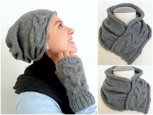 Knitting Pattern - Owl Design Set - Beanie, Gloves & Shawl - No.101ESet