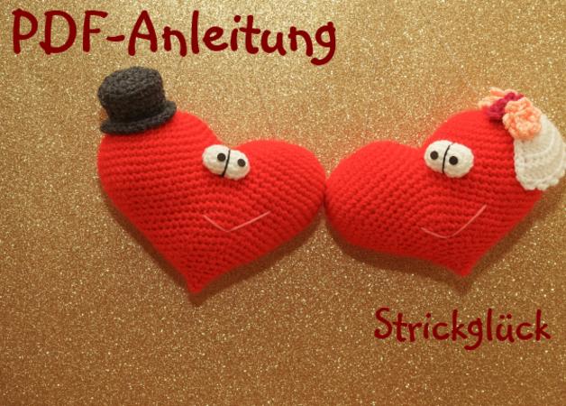Häkelanleitung Herz Hochzeit Valentinstag asymmetrisch