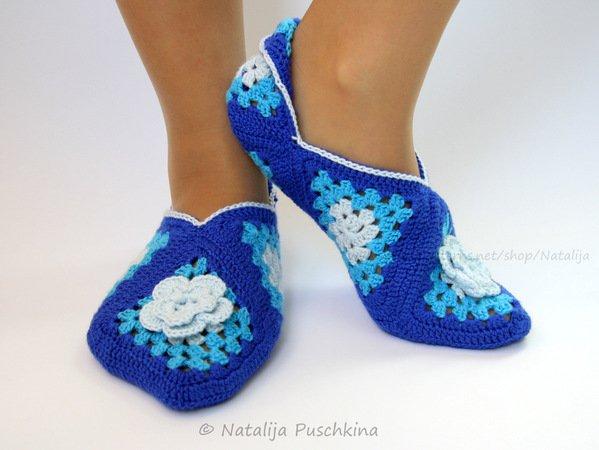 Hausschuhe häkeln / Socken mit Granny Squares