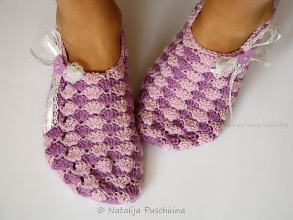 Womens slippers crochet pattern - Size Uk 3,5 - 12.