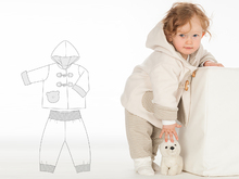 BRIO + LUCCA Girl Baby girls + boys duffle coat and pants sewing pattern pdf bundle by Patternforkids