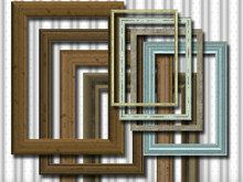 8 wood frames, shabby chic, digital
