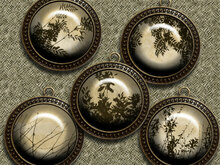 Vintage leaves – Digital Design - 9 Buttons print.