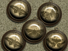 Vintage butterfly – Digital Design - 9 Buttons print.