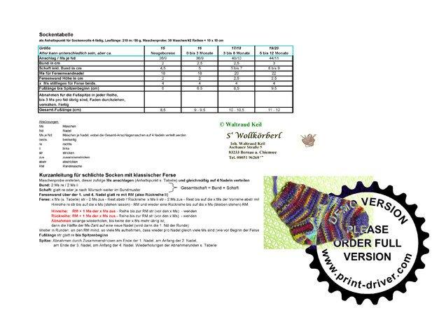 cheaper d2ecf 4aba4 kostenlose Babysocken-Tabelle--Sockenstricken