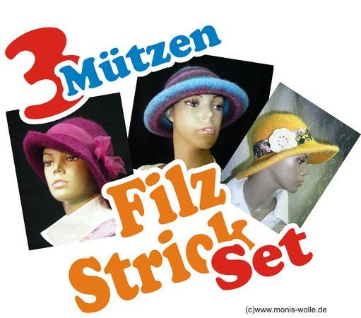Sparset 3 Mal Filzhut Filzmutze Strick Filz