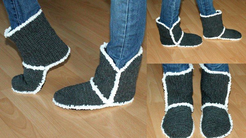 Boots häkeln // warme Hausschuhe häkeln