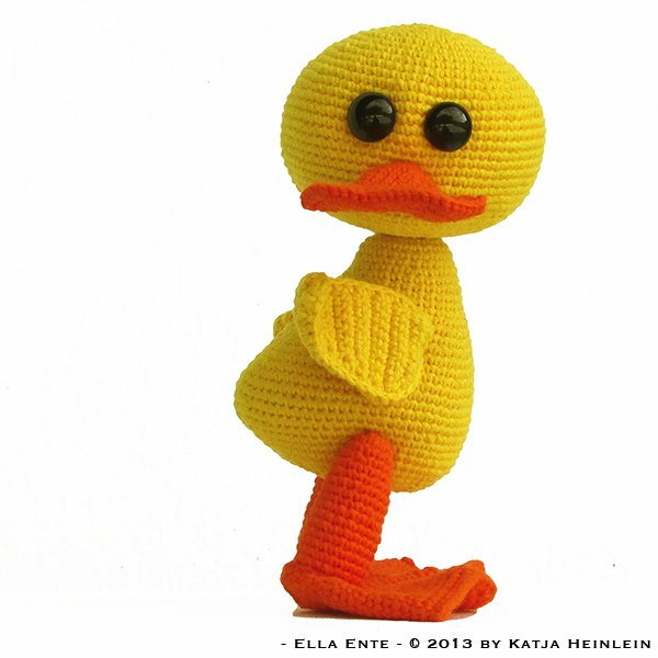Ente Häkeln -- Süß + Niedlich + Gelb-orange