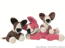amigurumi dog bull terrier Bella Brindle, PDF crochet pattern anleitung tutorial bully pet