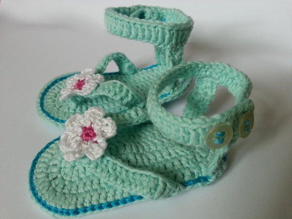Häkelanleitung** Baby Flip Flops