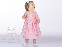 Baby girls pinafore dress sewing pattern pdf with bows or buttons ROSA