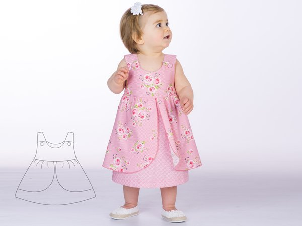 67d579aa8526e ROSA Baby girls pinafore dress sewing pattern pdf with bows or buttons  sizes 1M to 3Y. Easy pattern for children. Ebook by Patternforkids