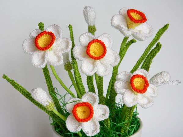 Blumen Deko Häkeln Narzissen Strauß Häkeln