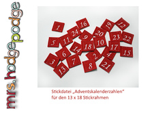Stickdatei Adventszahlen Ith