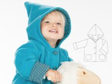 TORETTO Lined baby jacket sewing pattern pdf for boys and girls. Hooded toddler coat unisex ebook 1M to 3Y by Patternforkids