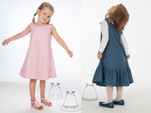 Baby girls dress sewing pattern, tunic with hem ruffles STEFFI + SIENA