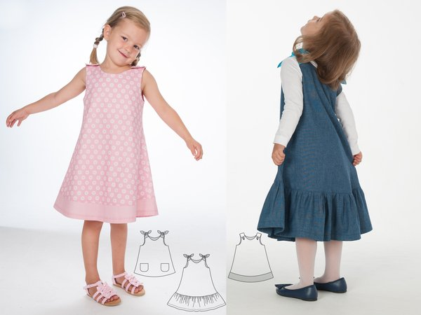 STEFFI + SIENA Baby girls dress sewing pattern, tunic with hem ruffles + bow ties or baby dress with buttons. Ebook pdf by Patternforkids