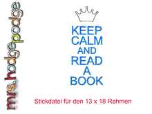 "Stickdatei ""Keep Calm and read a book"""
