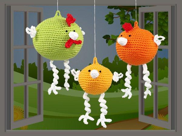 Huhn häkeln -- Hennen häkeln -- 3 Größen