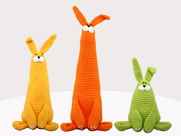 Bunnies Trio - 3 sizes - Crochet Pattern
