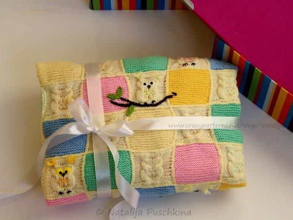Eulen-Decke stricken--Strickmuster Baby-Decke