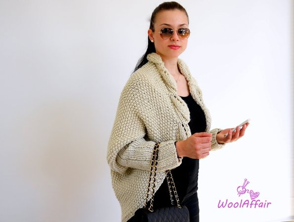 Knitting Pattern - Oversized Leaves Cocoon Cardigan - No.114E