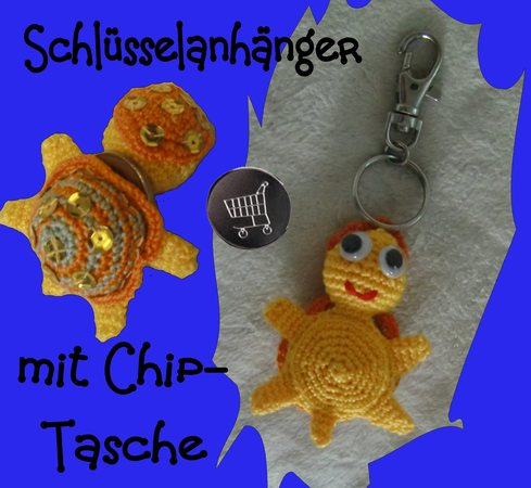 Schildkröte Häkeln Anhänger Mit Chip Tasche