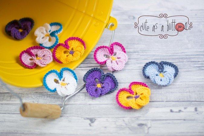 gratis Blume häkeln - Stiefmütterchen DIY