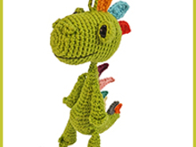 bag pendant Dino, PDF crochet pattern amigurumi tutorial by Katja Heinlein, ebook wyvern dinosaur file