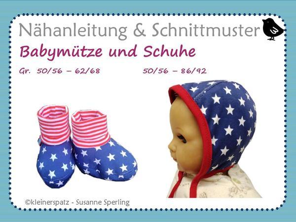 Nähanleitung und Schnittmuster, Mütze und Schuhe für Babys, Gr. 50 ...