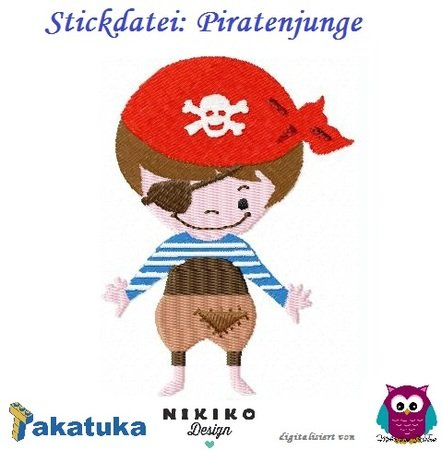 "Stickdatei ""Piratenjunge "" 10x10"