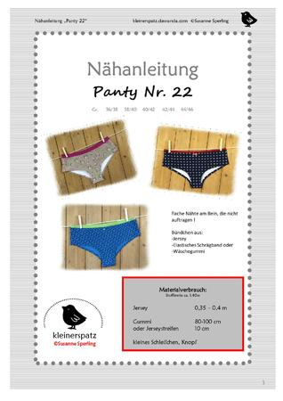 Nähanleitung und Schnittmuster, Panty / Slip für Damen (Gr. 36/38 ...