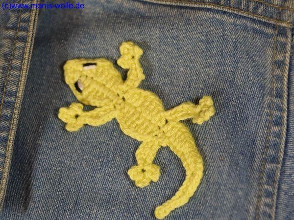 Gecko Häkeln Applikation Häkeln Wollreste