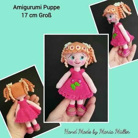 Amigurumi Puppe häkeln mit Spiral Zöpfe 17 cm Groß
