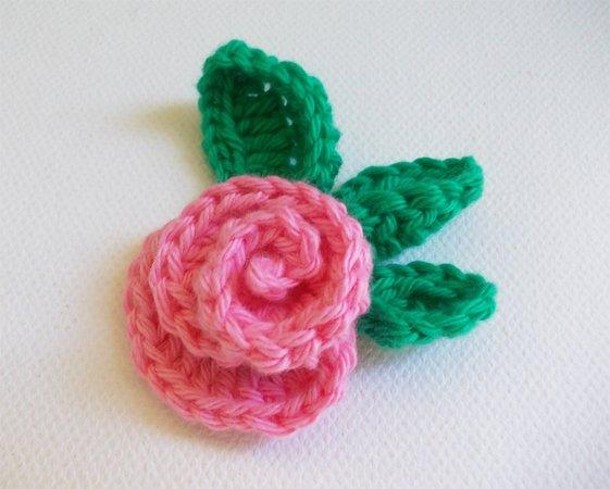 Rose häkeln /// Blume häkeln /// mit Blättern