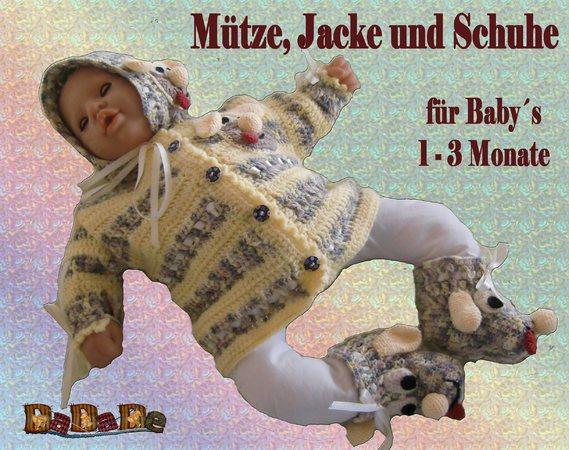 Baby Mütze, Jacke & Schuhe Hund, Größe 56-62, gehäkelt