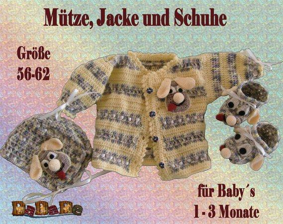 Baby Mütze Jacke Schuhe Hund Größe 56 62 Gehäkelt