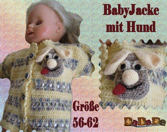 Baby Jacke Hund Größe 56 62 1 3 Monate Gehäkelt
